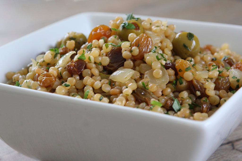 Toasted Israeli Couscous With Olives And Golden Raisins Anolon