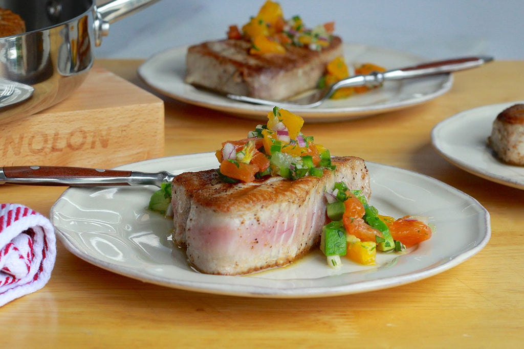 Weeknight Grilled Tuna with Simple Citrus Salsa