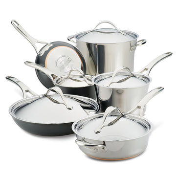 Nouvelle Stainless 11-Piece Mixed Metals Cookware Set