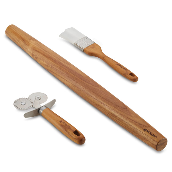 "Teak Prep Set Pastry Wheel Cutter, Pastry Brush, 19"" French Rolling Pin"