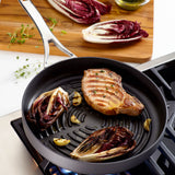 Anolon Nouvelle Copper Deep Round Grill Pan with food - feature