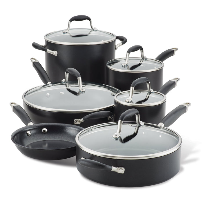 Anolon Advanced Home Hard-Anodized Nonstick 11-Piece Cookware Set, Onyx