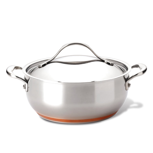 Nouvelle Copper Stainless Steel Chef Casserole with Lid