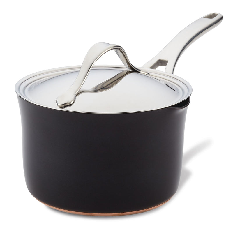 Nouvelle Copper Luxe Saucepan with Straining Lid