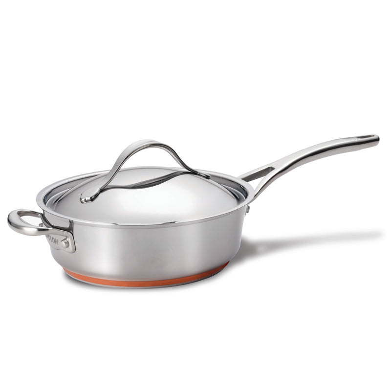 Nouvelle Copper Stainless Steel Sauté with Lid and Helper Handle