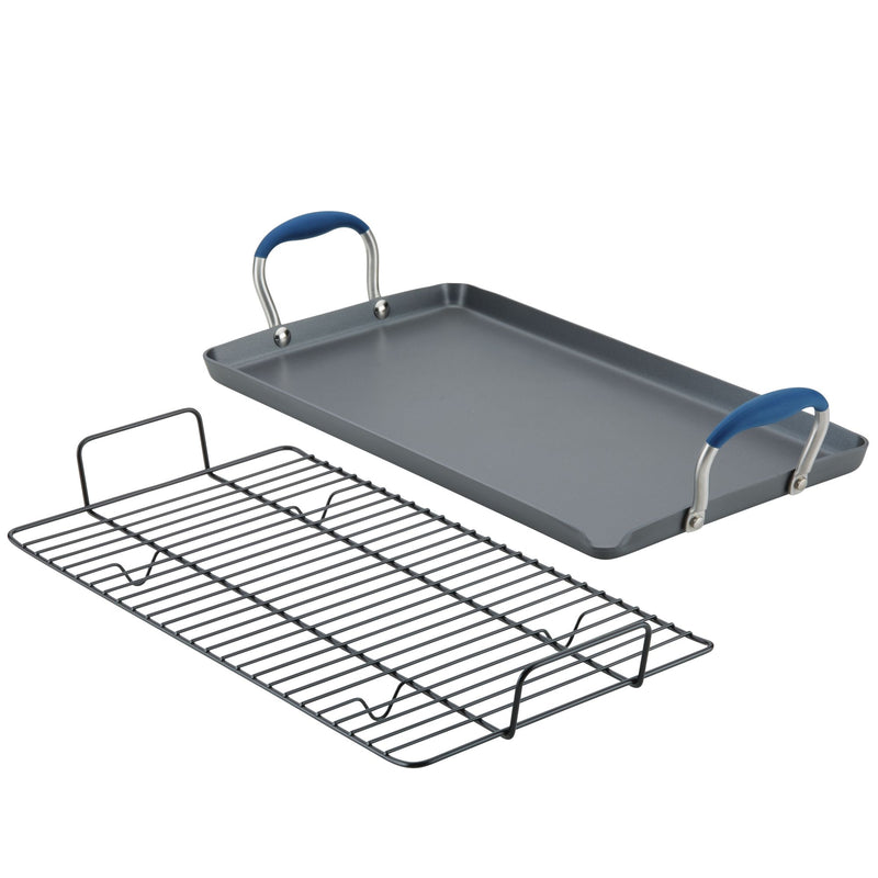 "10"" x 18"" Double Burner Griddle with Multi-Purpose Rack"