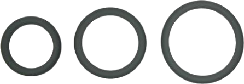 Snug-Fit Silicone Thin C-Rings, 3 Pk (Charcoal)