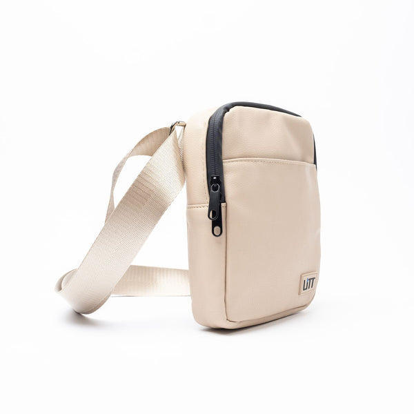 Smell Proof Cross Body Stash Bag (Beige Leather Without Lock)