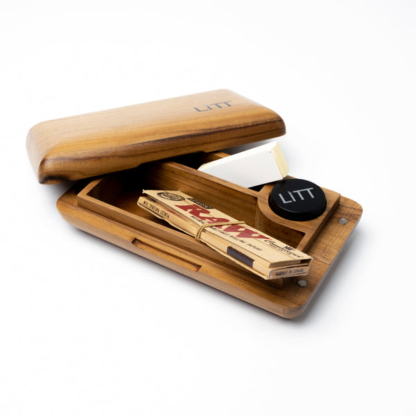 LITT Pocket Rolling Stash Box (Teak)