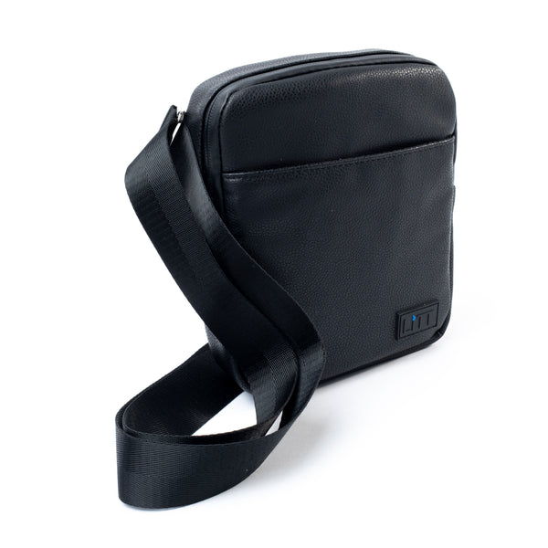 Smell Proof Cross Body Stash Bag (Black Leather)