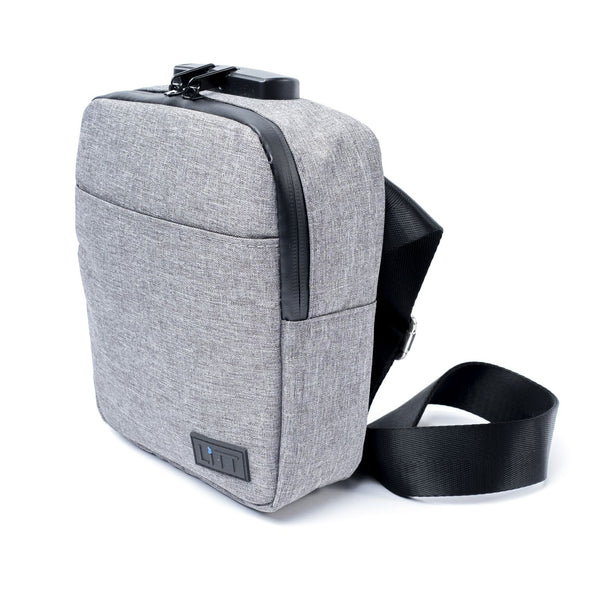 Smell Proof Cross Body Stash Bag (Grey Fabric With Lock)