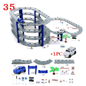 DIY Multi-Track Rail Car Electronic Racing Car track Kids Toy Childrens Game