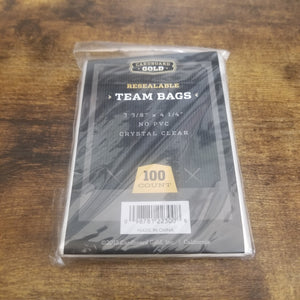 Cardboard Gold Resealable Team Bags