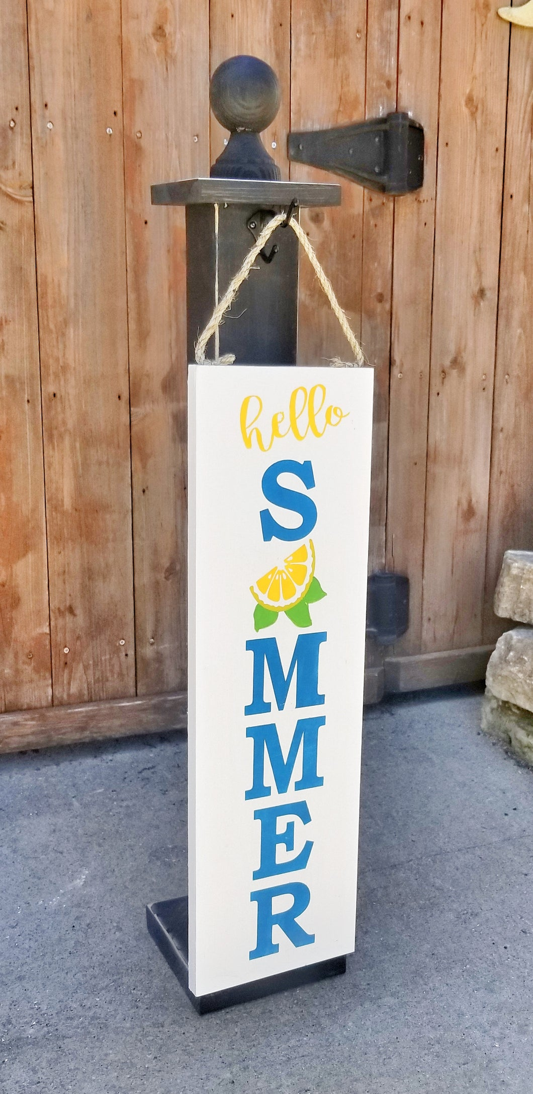 Lemon Summertime Sign and Hanging Post