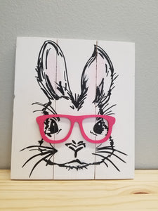 Bunny with Pink Glasses Sign