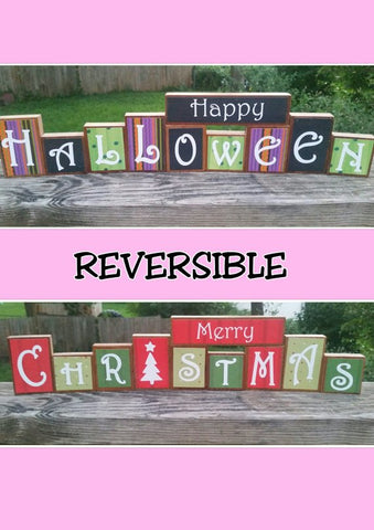 Reversible Wooden Halloween and Christmas blocks