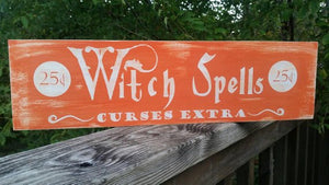 Witch Spells Wooden Sign