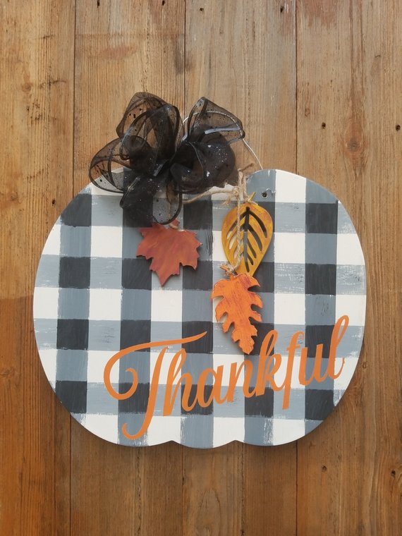 Buffalo Plaid Pumpkin Door Hanger