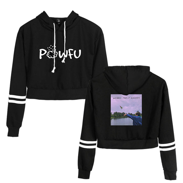 Casual Powfu Crop Top Hoodie for Women Crop Top Sweatshirt Pullover Hooded Sweatshirt