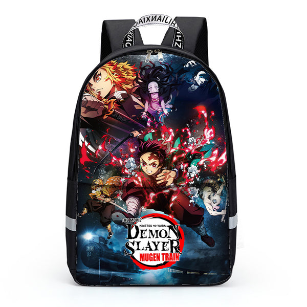 Teen Boys Girls Backpack School Bookbag with Lunch Bag Pencil Case Demon Slayer School Backpacks