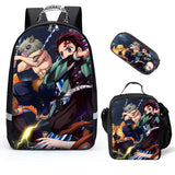 Demon Slayer Casual Stylish Backpacks for Kids Boy Girls Lightweight Bookbags Three-piece Set