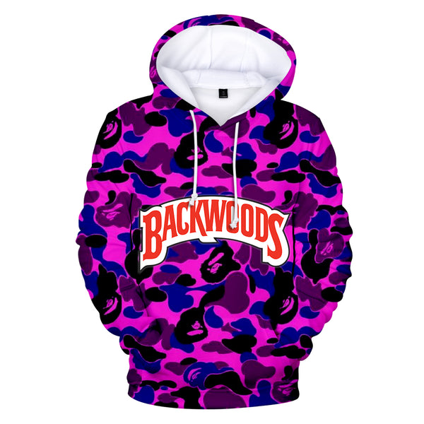 Letter BACKWOODS Hoodie Pullover Hooded Sweatshirt