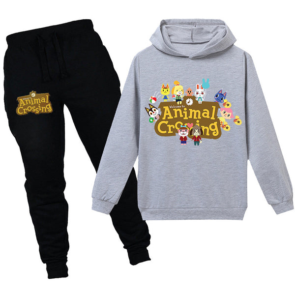 Casual animal crossing Cartoon Sports  Trousers Two-piece Hooded