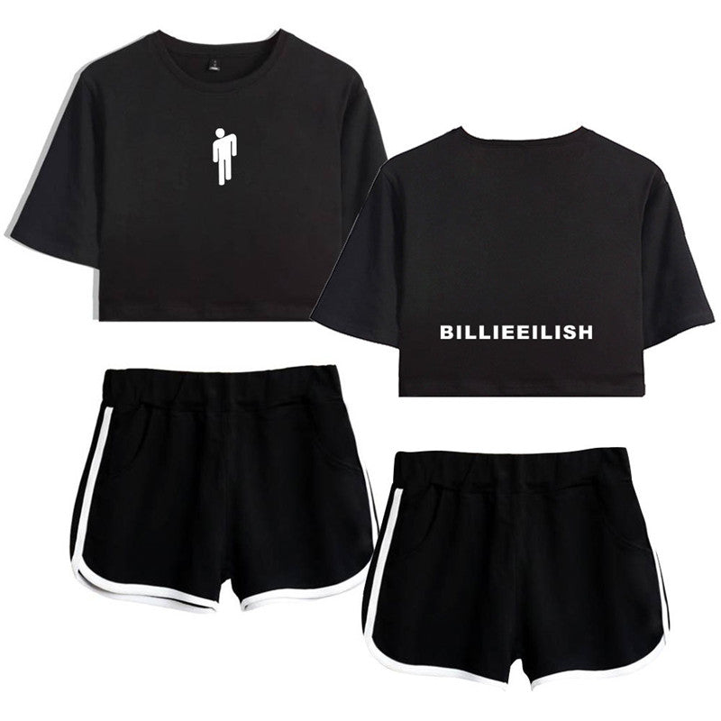 Girl Women Billie Eilish Running T Shirt Sport Shorts Midriff Baring Firstcorset