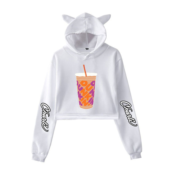 Charli D'Amelio Hoodie Clothes Midriff Cat Ear Fans Stylish Design Funky Custom Long Sleeve Sweater for Women