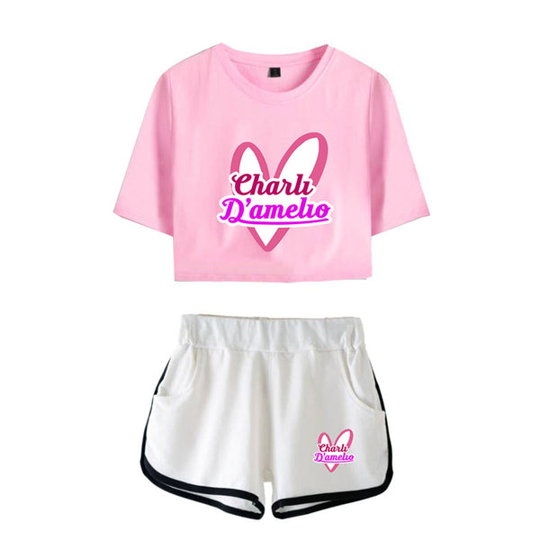 Casual Stylish Charli D'Amelio Midriff-baring Tees Shorts Running Tops Girls Sport Shorts