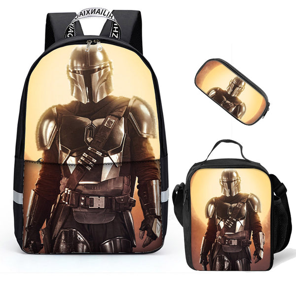 Middle School Backpack 3D The Mandalorian Printed Black Book Bag For Teens Boys Girls