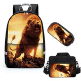 Lion  Student  Bookbag Lightweight Laptop Bag with Shoulder Bags and Pen Case for Teen Boys and Girls