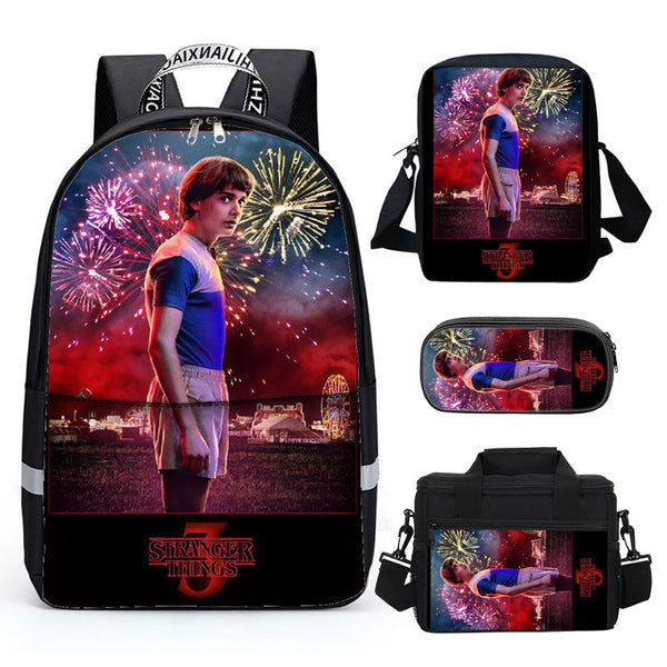 Stranger things 3D Print Backpack for Kids School Bookbag Lunch Bag Shoulder Bag Pencil Bag 4PCS