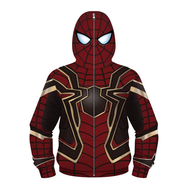 Boys Spide-man Pattern Pocket 3D Painted Hoodie - firstcorset