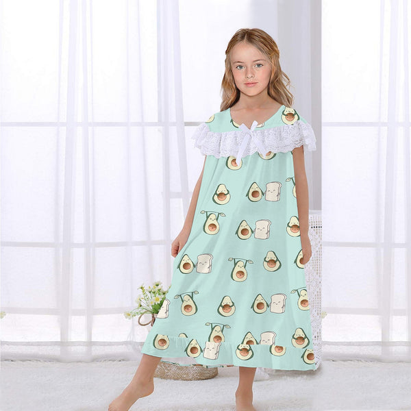 Girls Avocado Pajama Dress