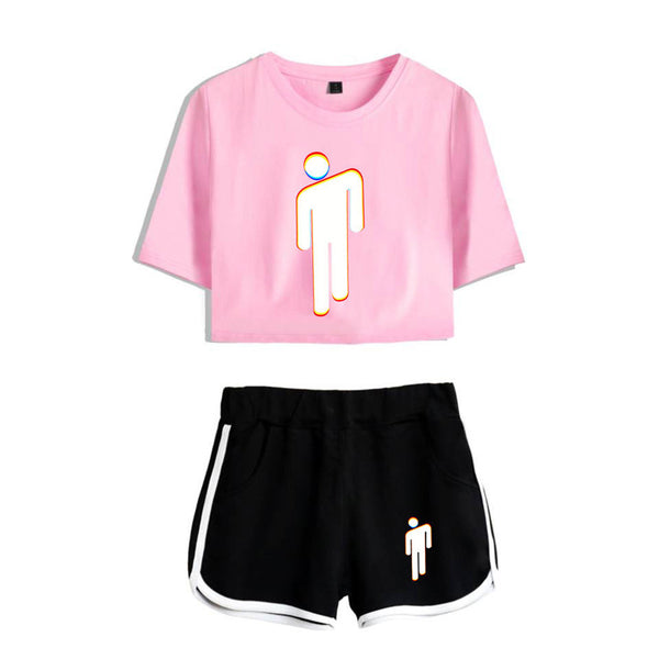 Billie Eilish midriff-baring tee tops Beach bedding shirt Shorts Crop Tops+Shorts Pants 2Pcs Outfits