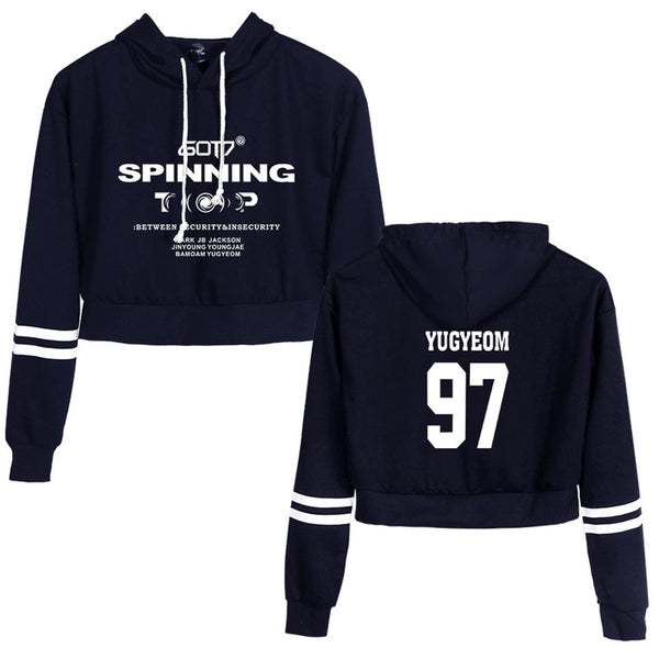 Casual Long Sleeve GOT7 Printed Sweatshirt Crop Top Hoodies Sports For Women