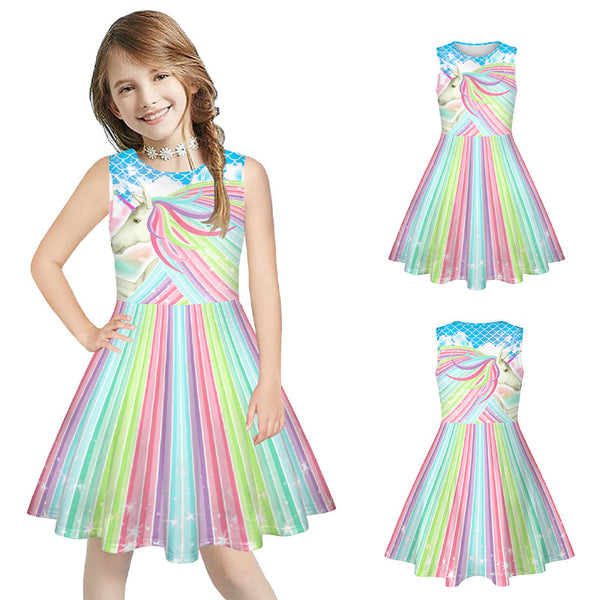 Girls Sleeveless Dress Kids Printed Twirl Party Casual Dresses 7-13 Years