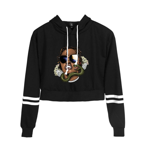 Casual Gunna Long Sleeve Crop top Hoodie Pullover Tops for women