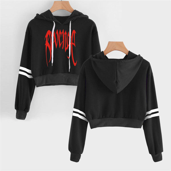 Xxxtentacion Revenge character Long Sleeve Cropped Hoodies Women Hooded Pullover Crop Tops