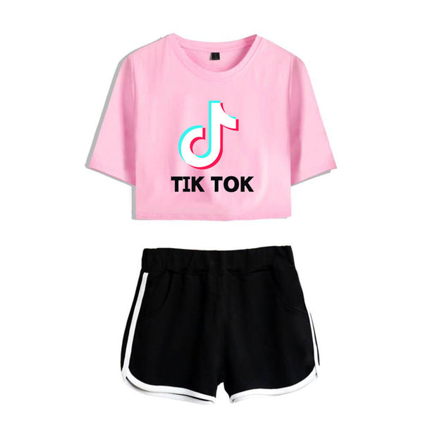 Fashion Tik Tok Midriff-baring CottonTees Shorts  Girl Running T-shirt Sport Shorts