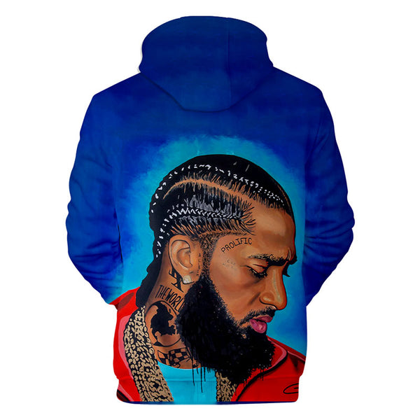 Mens Nipsey Hussle Long Sleeve Hoodie Streetwear Hip Hop Happer Hooded Sweatshirt