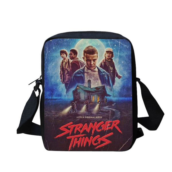 Casual Middle School Backpack 3D Stranger things Printed Book Bag 4-pieces Set For Teens Boys Girls