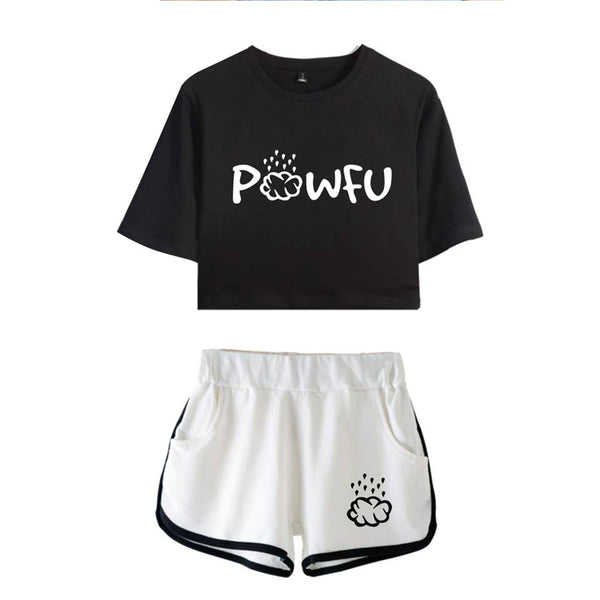 Fashion Powfu Midriff-baring CottonTees Shorts  Girl Running T-shirt Sport Shorts