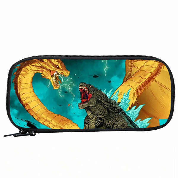 Unisex Godzilla VS King Ghidorah Student Schoolbag Backpack-Kids Lunch Bag Pencil Bag 4PCS