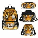 Casual Tiger Large Backpack Insulated Lunch Bags Pencil Case Boys Girls Schoolbag 4PCS