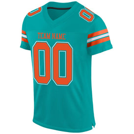 Custom Aqua Orange-White Mesh Authentic Football Jersey