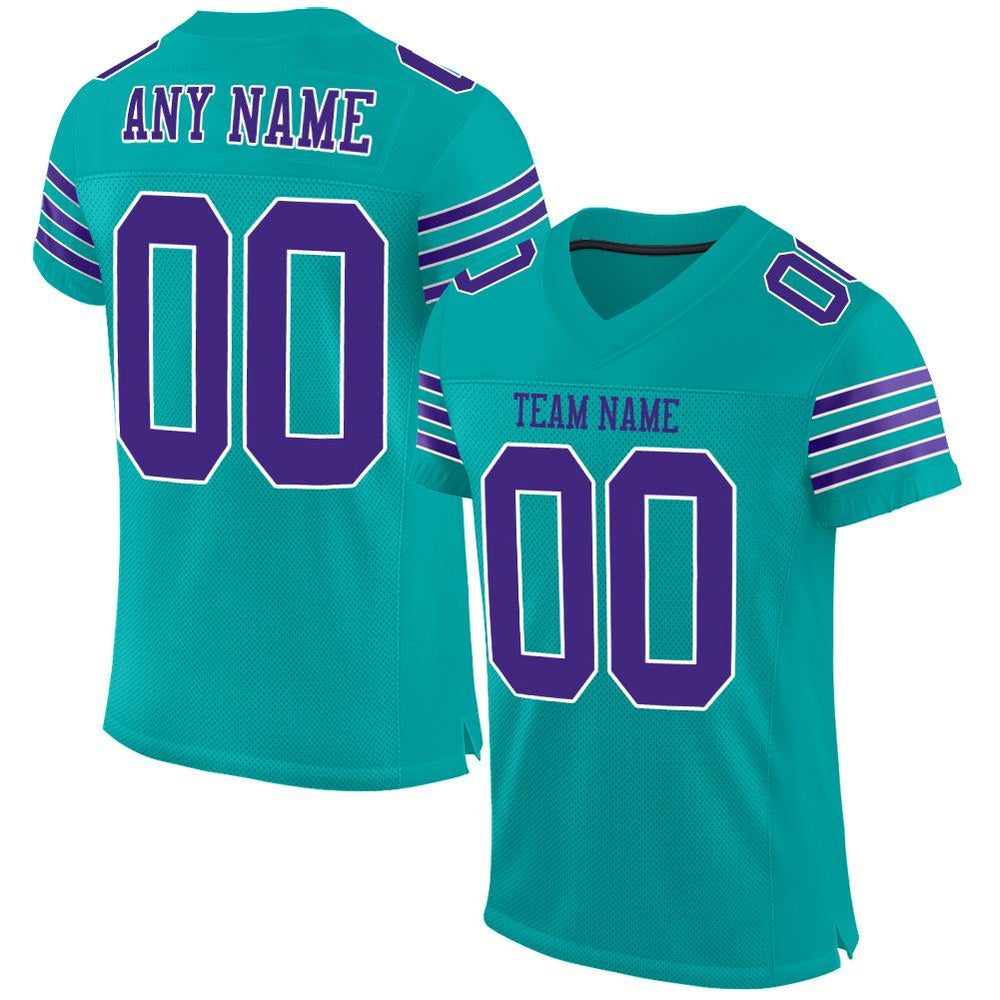 Custom Aqua Purple-White Mesh Authentic Football Jersey