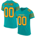 Custom Aqua Gold-Black Mesh Authentic Football Jersey