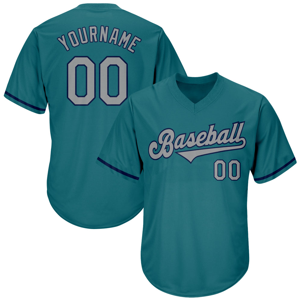 Custom Aqua Gray-Navy Authentic Throwback Rib-Knit Baseball Jersey Shirt
